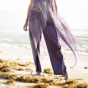 Sally Drawstring Silk Pant in Purple